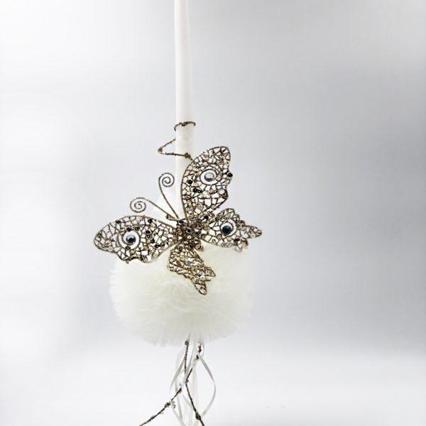 Λαμπάδα λευκή πεταλούδα