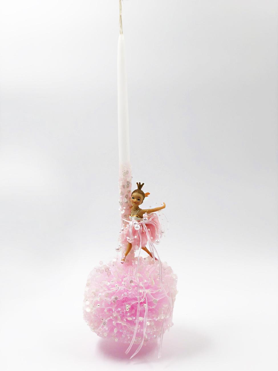 Λαμπάδα ροζ μικρή μπαλαρίνα