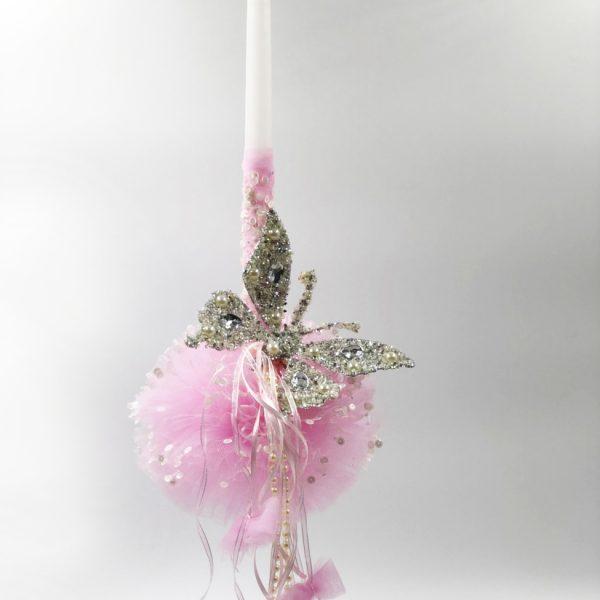 Λαμπάδα ροζ πεταλούδα